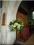 SU5846 : Dummer - All Saints Church: floral display by Basher Eyre