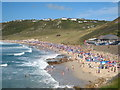 SW3526 : Sennen beach on an August Sunday by Rod Allday