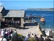SW3526 : Choir concert in Sennen harbour by Rod Allday