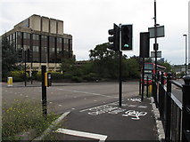 TQ1882 : Traffic light green for cyclists only across Hanger Lane by David Hawgood