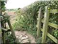 SE3836 : Waymarked gap in the hedge, the Leeds Country Way by Christine Johnstone