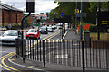 SP0583 : Pedestrian railings at the junction of Bristol Road and Edgbaston Park Road, Bournbrook by Phil Champion