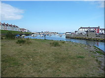 SN4562 : Aberaeron harbour in August by Jeremy Bolwell