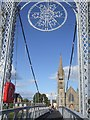 NH6645 : Greig Street Suspension Bridge & Free North Church by Rob Farrow