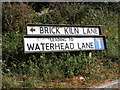 TM2950 : Brick Kiln & Waterhead Lane sign by Adrian Cable