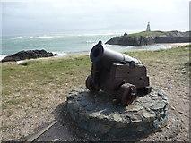SH3862 : Small cannon at Pilots' Cove on Llanddwyn Island by Jeremy Bolwell