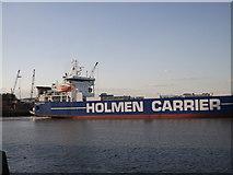 TQ7769 : Holmen Carrier leaves Chatham Docks by David Anstiss