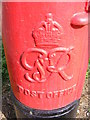 TM2648 : Cipher on the Peterhouse Estate George VI Postbox by Adrian Cable