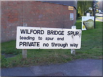 TM2850 : Widford Bridge Spur sign by Adrian Cable