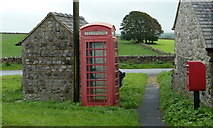 SK1368 : Telephone box, postbox and bus shelter, Flagg by Andrew Hill
