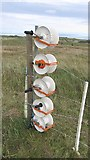 NT4681 : Electric fence spools, Gullane Links by Richard Webb