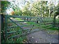 SE2810 : Gates into Cawthorne Park Wood, Upper Field Lane by Christine Johnstone