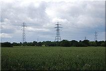 TQ5684 : Pylons by Sunning Lane by N Chadwick