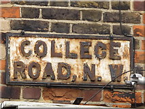 TQ2383 : Sign for College Road, NW10 by Mike Quinn