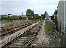 SN7634 : Two railway tracks into one, Llandovery by Jaggery