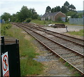 SN7634 : Trackside building viewed from Llandovery railway station by Jaggery