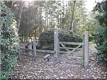 SP2704 : Gate and stile beside Alvescot village hall by andrew auger