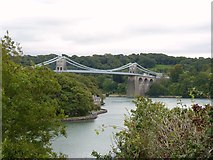 SH5571 : Menai Suspension Bridge as seen from Church Island, Menai Bridge by Meirion