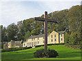 SE6078 : College buildings and roadside cross by Pauline E