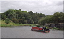 SJ6475 : Narrowboat on the River Weaver near Anderton, Cheshire by Roger  Kidd
