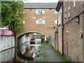 SK5879 : Narrowboat passing under the Straddle Warehouse by Christine Johnstone