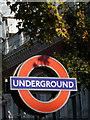 TQ2679 : London Underground Roundel, South Kensington, London SW1 by Christine Matthews
