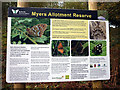 SD4774 : Sign at Myers Allotment Reserve, Silverdale Green by Karl and Ali
