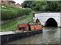 SJ6374 : Historic narrowboat and Barnton Tunnel, Cheshire by Roger  Kidd