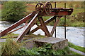 NT3338 : Old sluice gate mechanism, Leithen Water by Jim Barton