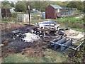 SP2966 : Burnt-down shed, Pottertons Allotments, Warwick by Robin Stott