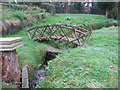 SJ6069 : Footbridge over a small stream below Beech Tree farm that feeds into Petty Pool lake by Dr Duncan Pepper