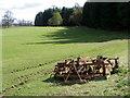 NN9853 : Disc-harrow near Ballinluig by Maigheach-gheal