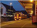 NG7627 : The 17:15 train stands in the platform at Kyle of Lochalsh station by John Lucas