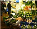 SP5106 : Greengrocer in the Covered Market by Fly