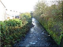 SS8591 : River Llynfi flows away from Meadow Street footbridge, Maesteg by Jaggery