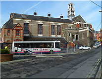 SS8591 : SE side of town hall and market, Maesteg by Jaggery