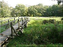 NY0265 : Footbridge to the old castle, Caerlaverock by Humphrey Bolton