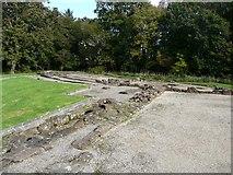 NY0265 : Foundations of the old castle, Caerlaverock by Humphrey Bolton