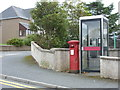 HU4641 : Lerwick: postbox № ZE1 62 and phone, Anderson Road by Chris Downer