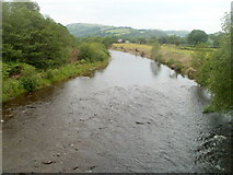 SN7634 : River Towy flows towards Chain Bridge, Llandovery by Jaggery