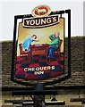 SP4510 : The Chequers Inn (2) - sign, 6 The Green, Cassington by P L Chadwick