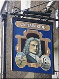TQ3480 : Sign for The Captain Kidd, Wapping High Street, E1 by Mike Quinn