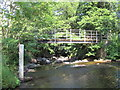NY9258 : Footbridge over Rowley Burn at the ford at Whitley Mill by Mike Quinn