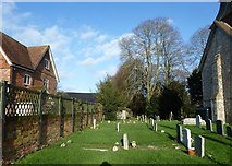 SU5355 : All Saints, Hannington: rear of the churchyard by Basher Eyre