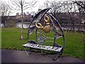 NZ2462 : Ornamental seat off Rose Street, Gateshead Riverside Park by Andrew Curtis