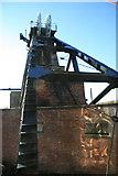 SK4964 : Pleasley Colliery - south head gear by Chris Allen