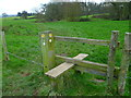 SU7723 : Stile with Serpent Trail waymarks east of Petersfield by Shazz