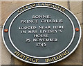 SD4761 : Bonnie Prince Charlie plaque in Church Street, Lancaster by Karl and Ali