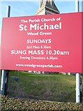 TQ3090 : Notice board, St Michael's Church, Bounds Green Road N22 by Robin Sones
