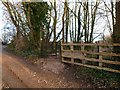 ST5493 : Gate on Offa's Dyke Path at Buttington Tump, Sedbury by Ruth Sharville